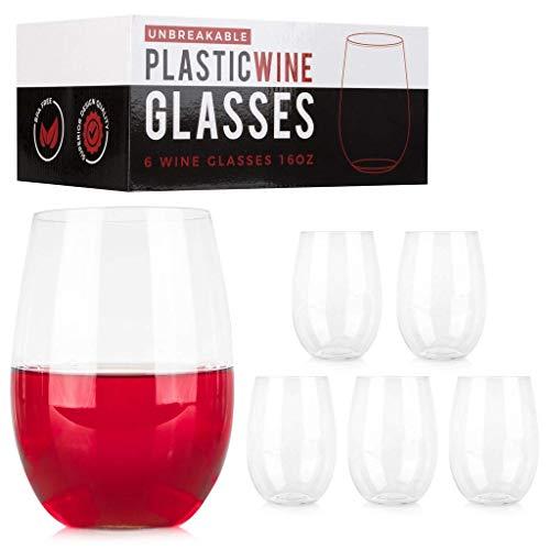 ConnectedPlus 16 oz Stemless Plastic Wine Glasses Set of 6-100 Tritan Shatterproof Reusable Stemless Wine Cups Perfect for Outdoor Picnics