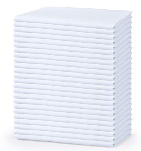GLAMBURG Flour Sack Towels White 24 Pack 26x26 Cotton Flour Sack Kitchen Towels Flour Sack Dish Towels White Cotton Kitchen Napkins Flour Sack Tea Towels Multi Purpose