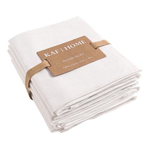 KAF Home Flour Sack Kitchen Towels White Set of 4 100 Cotton