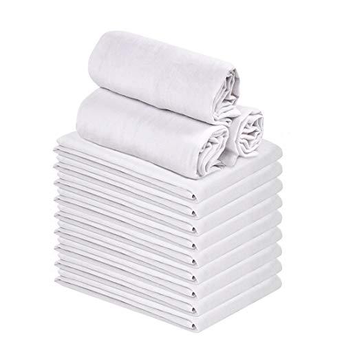 Talvania Classic White Flour Sack Towels - 12-Pack of 100 Ring Spun Cotton Home Kitchen Dish Towel Soft Absorbent Dish Towels - Lint Free Measures 28 X 28 Tea Towel