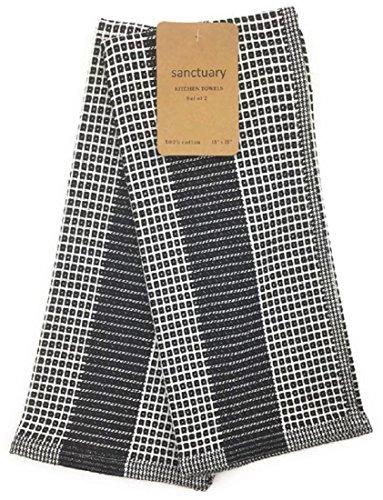 Black Waffle Weave Kitchen Towel Set