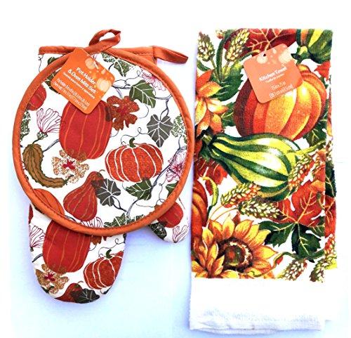 Pumpkin Themed ~ Thanksgiving Kitchen Towel pot holder oven Mitt 3 items SET