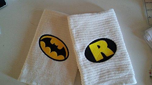 set of 2 Batman Robin themed kitchen towels