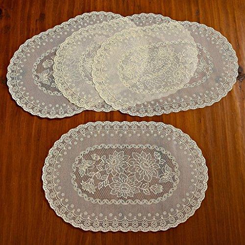 Violet Linen Vinyl Lace Embossed Floral Design Oval Placemats Set of 4 Beige
