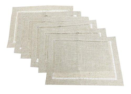 Fennco Styles Linen Blend Hemstitch Natural Placemat Set - 6 Pack