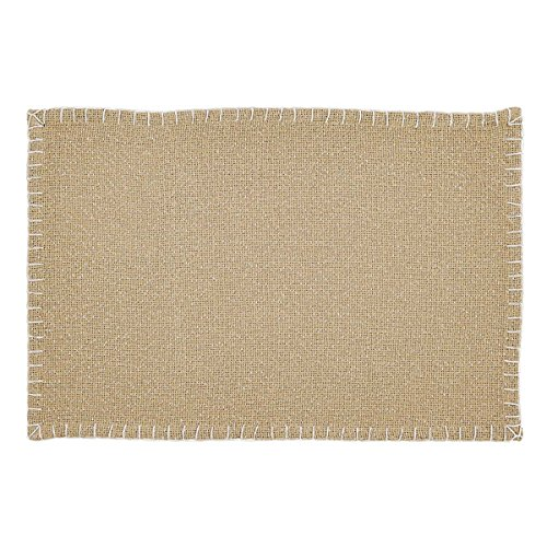 VHC Brands Nowell Natural Placemat Set of 6 12x18