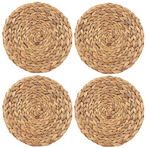wellhouse Natural Handmade Straw Woven Placemat Wooden Round Braided Mat Heat Resistant Hot Insulation Anti-Skidding Pad 145Inch Grass mat-4 Pack