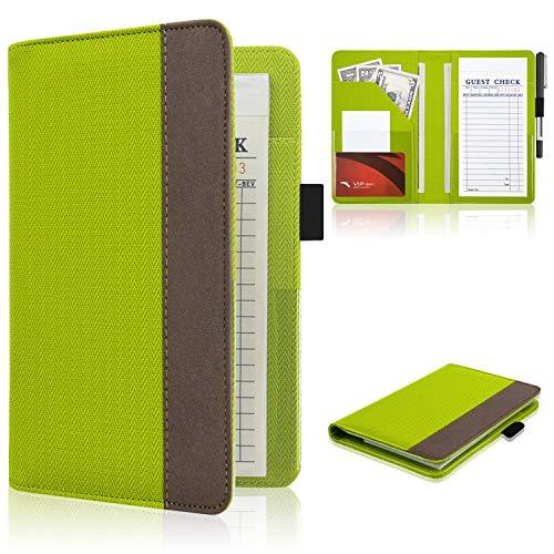 ACdream Waiter Book Server Wallet Server Pads Waitress Book Restaurant Waitstaff Organizer Guest Check Book Holder Money Pocket Fit Server Apron Twill503-Green