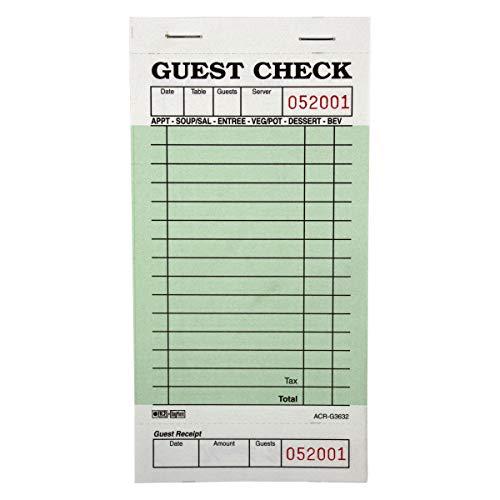 DayMark ACR-G3632 Guest Check Board 1 Part Green 50 Books 50 Checks per Book