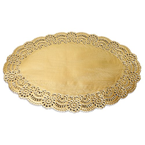 Geeklife Gold Foil Paper Placemats  Disposable Lace Placemats Oval Paper Doilies 105 x 138 Inches 40 Count