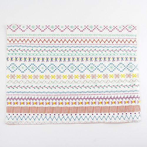 INFEI Flower print multicolor cotton linen fabric placemats heat insulation mat dining table mats Set of 2 Mats
