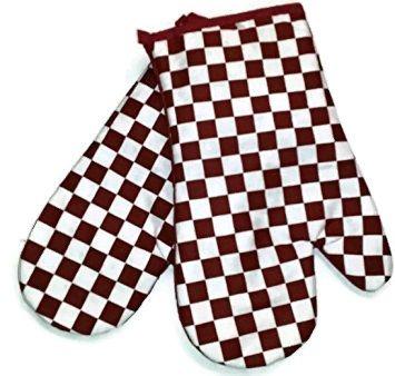 Red And White Checker Design Multi-Purpose 2 Pack Oven Mitt Se
