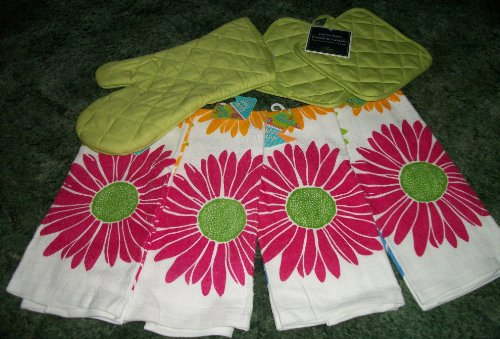 Flowers and More Flowers with Lime Green Pot Holders and Oven Mitt