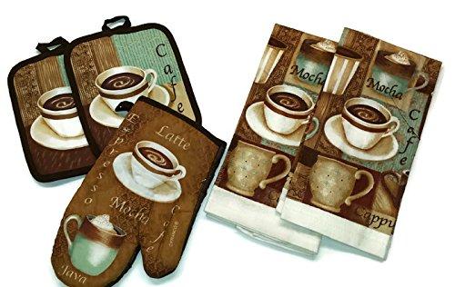 Coffee Moca Cappuccino Linen 5 Piece Bundle Package Oven Mitt 1 Pot Holders 2 Kitchen Towels 2 4425
