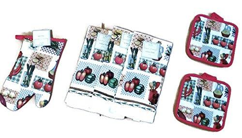 Kitchen Linen Bundle GardenVegetables Oven Mitts 1 Towels 3 Pot Holders 2