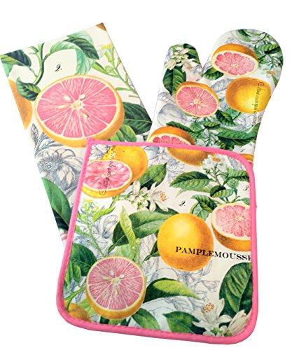 Michel Design Works Tea Towel Oven Mitt Pot Holder Set Pink Grapefruit