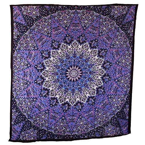 Jaipur Handloom Blue Purple Mandala Tapestry Hippie Tapestry Wall Hanging Psychedelic Star Elephant Mandala Tapestry Table Runner Bohemian Bedspread Bed Cover Bedding Bedsheet