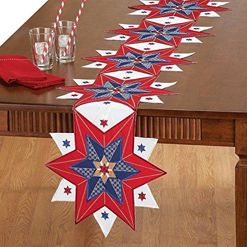Cutwork Americana Star Table Linens Runner