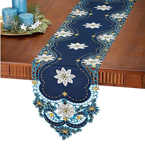 White Poinsettia Blue Christmas Table Linens Runner
