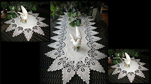 Galleria di Giovanni Creamy White Dresser Scarf Runner Plus Two Doilies Formal European Lace Doily