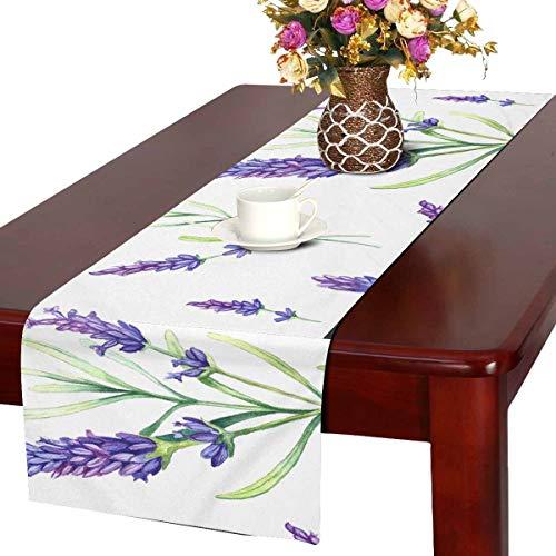 INTERESTPRINT Table Runner and Dresser Scarf Rectangular Romantic Vintage Romantic Lavender Flowers 14 by 72-Inch