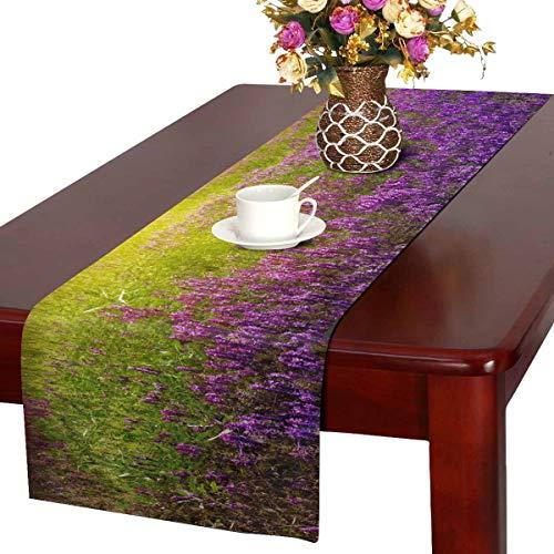 INTERESTPRINT Table Runner and Dresser Scarf Rectangular Spring Landscape Purple 14x72 Inchs