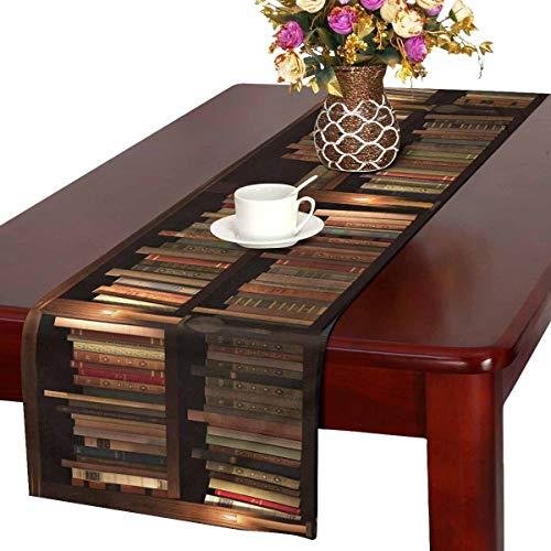 INTERESTPRINT Table Runner and Dresser Scarf Rectangular Two-Storied Bookshelf 14x72 Inchs