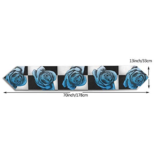 SE78ESY Rose Color Royal Blue Table Runner for Parties Dresser Scarf and Runners 13x70inch Vintage Tablecloth Runner for Dining Table