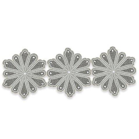 Winter Wonderland Beaded Snowflake 36-Inch Table Runner