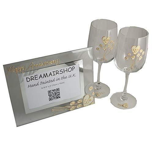 Dreamair 50th Golden Wedding Anniversary Wine Glasses and Photo Frame Gift SetPack