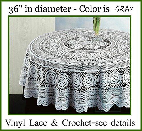Early American design PVC CROCHET Vinyl Tablecloth Elegant easy-to-care for light gauge vinyl Machine washableDryer safe Lotus GRAY 36 Diameter
