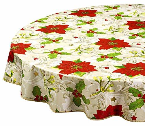 Round Tablecloths Christmas Tablecloths Vinyl Table Cloth Table Linens Poinsettia 60 Inch