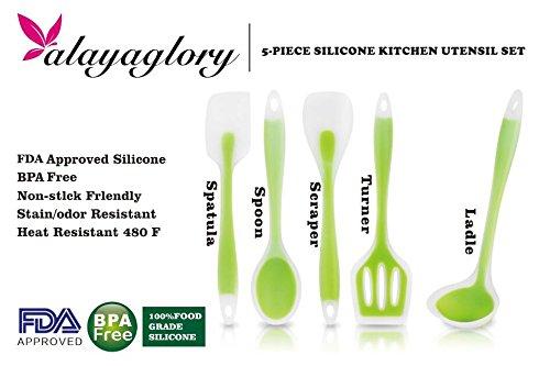 AlayaGlory Premium Heat-Resistant 5 Pieces Silicone Cooking Utensil Set – Durable Non-Stick