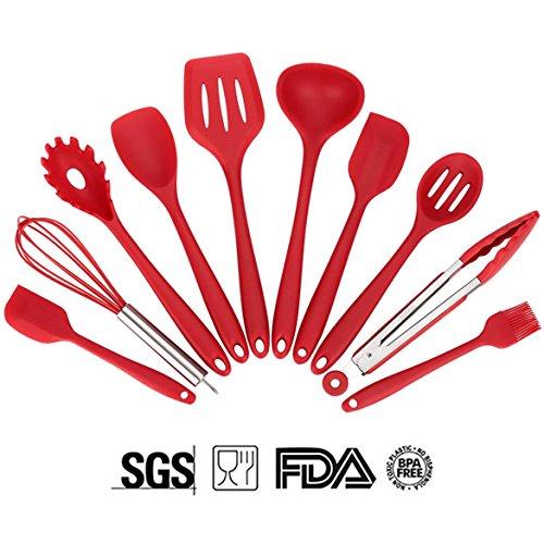Soledi Cooking Utensils Silicone Kitchen Utensil 10 Pieces utensil set - TurnerLarge SpoonulaSmall SpoonulaBasting BrushWhiskPasta ForkSpoonulaTongSlotted SpoonLadle