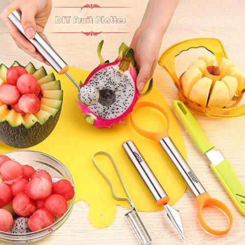 Fruit Corer SlicerFruit SlicerMayPal 6 in 1 Fruit Vegetable Slicer-Apple Corer Melon Baller Scoop Fruit Carver Knife and Cutting Board