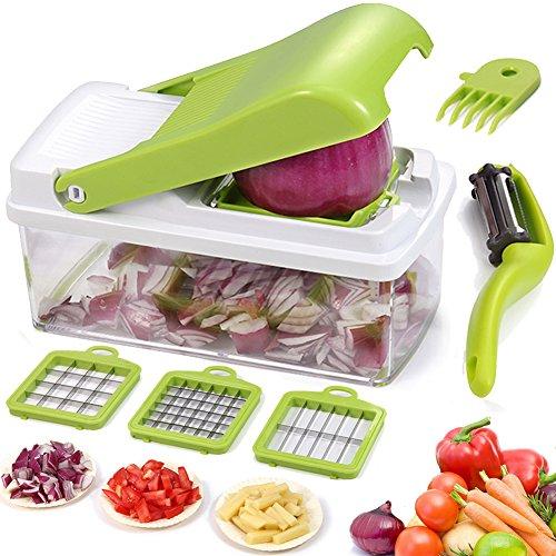 Vegetable Chopper Dicer Slicer Grater Cutter Artbest Manual Onion Shredder Fruit Cutter with 3 Stainless Steel Blades