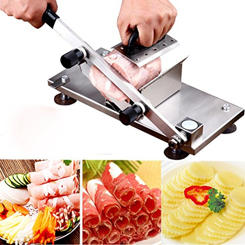 Frozen Meat Slicer Cutting Manual Control Stainless Steel Meat Cutter Meatloaf Beef Mutton Rolls Sheet Slicing Machine Meat Cleavers Cheese Vegetable Food Slicer for Home Kitchen and Commercial Use