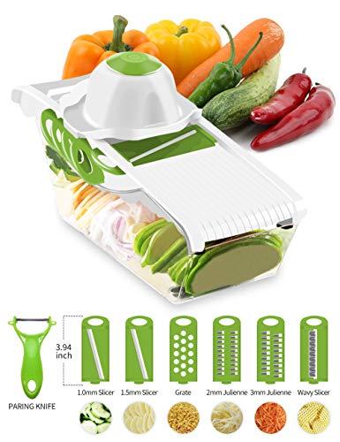 VOSIN Mandoline Vegetable Slicer Veggie Chopper Food Spiralizer Cutter for Potato Potato Chip Maker with 6 Interchangeable Stainless Steel Spiralizer