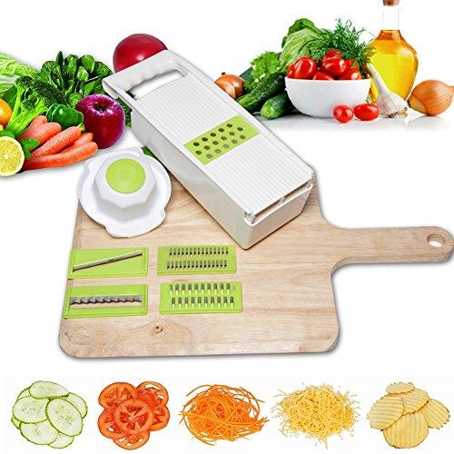 Mandoline Slicer 5-Blade Vegetable Slicer Grater 6-in-1 Vegetable Cutter Peeler Chopper Cheese Slicer Julienne Slicer with Food Container Hand Protector by YYuxing