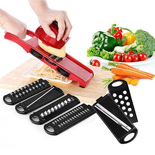 Momugs Adjustable Mandoline Food Slicer - 6 Blades - Vegetable Cutter Peeler Slicer Grater and Slicer with Handguards - Red