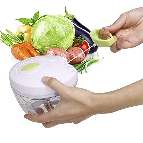 Vansop Handheld Manual Food Chopper Vegetable Cutter Fruit Slicer Shredder with 3-Blades