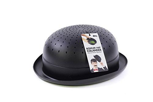 Bowler Hat Kitchen Colander Strainer Black for Pasta Fruits and Vegetables