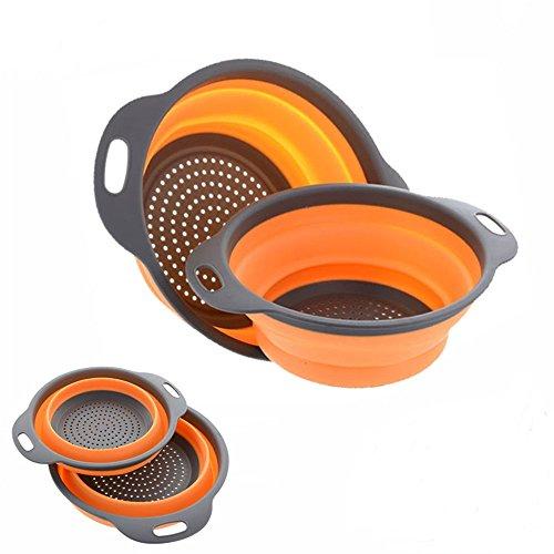 New Arrival Set of 2 Foldable Silicone Colander Fruit Vegetable Washing Basket Strainer Collapsible Orange