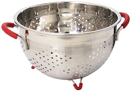 Weston Stainless Steel Colander 55-Quart 66-0105-W Silicone Handles and Feet Dishwasher Safe
