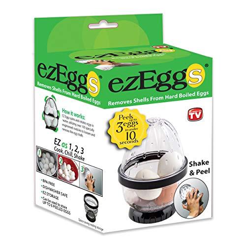 EZ EGGS Hard Boiled Egg Peeler 3 Egg Capacity - Handheld Specialty Kitchen Tool Peels Egg Shells in Seconds As Seen on TV