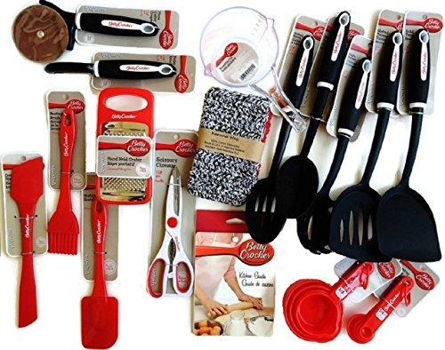 Betty Crocker Kitchen Gadgets Cooking Utensils Tools Supplies Essentials with Recipes Hand-Made Cotton Dish Cloths and BONUS Betty Crocker Cake Tester 18-piece Set