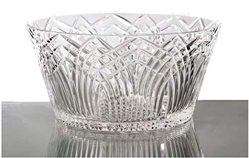 GAC Round Crystal Glass Serving Bowl 8 Large Serving Bowl and SaladFruit Bowl Centerpiece Stunning Hand Cut Design