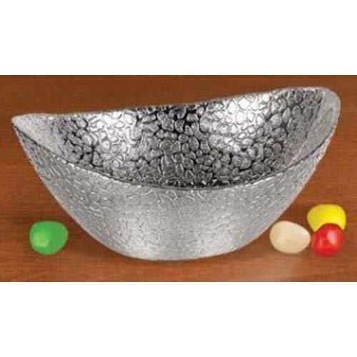 Graphic Image Silver Snakeskin Design Fine Crystal Serving Bowl 6