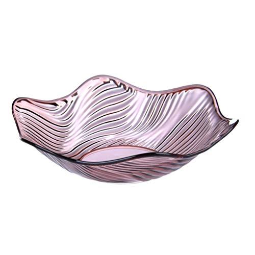 Hemoton Crystal Serving Bowl Platter Fruit Holder Bowl Clear Salad Bowl for Home Party Chips Candy Snack Flower Pattern Wave Edged 258cm Purple
