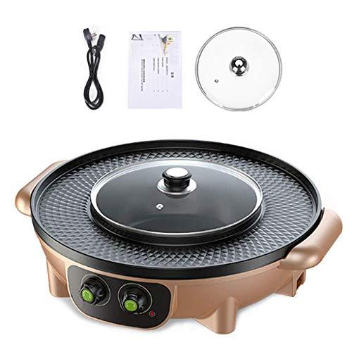 RTPUYTR Korean Barbecue Hot Pot Dual Pot Built-in Cooking Pot Electric Hot Pot Electric Barbecue Electric Baking Mould